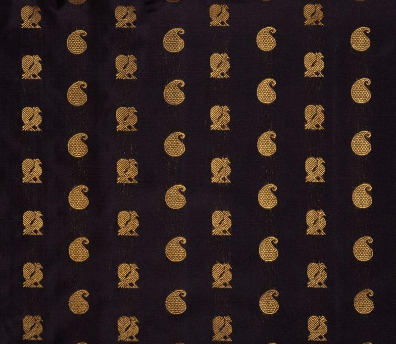 Kanjivaram handloom silk yardage in black with butta