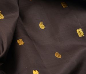 Kanjivaram handloom silk yardage in black with butta