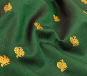 Kanjivaram handloom silk yardage in green with butta