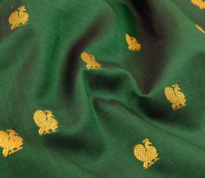 Kanjivaram handloom silk yardage in green with butta