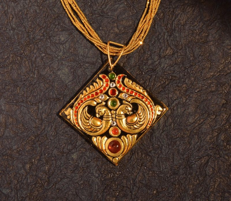 Tanjore Jewellry Pendant Peacock Diamond