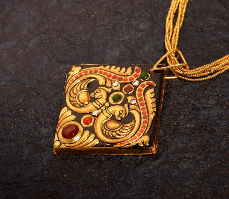Tanjore Jewellry Pendant Peacock Diamond
