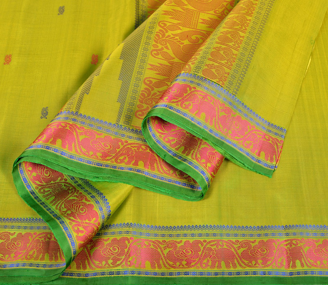 Kanjivaram soft silk in lemon green with thread work