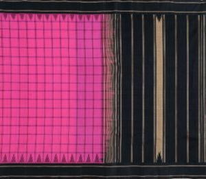 Kanchi Silkcotton Saree in Pink with Korvai Border
