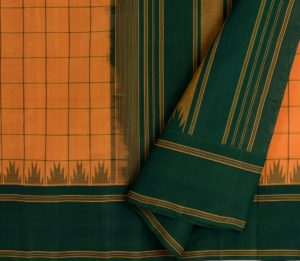 Kanchi Silkcotton Saree in Mustard with Korvai Border