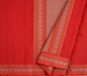 Kanchi Cotton Saree in Chilli Red