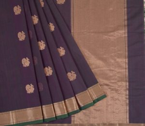 Kanchi Cotton Saree in Green shot Purple
