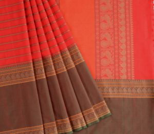 Kanchi Cotton Saree in Red Mubbhagam