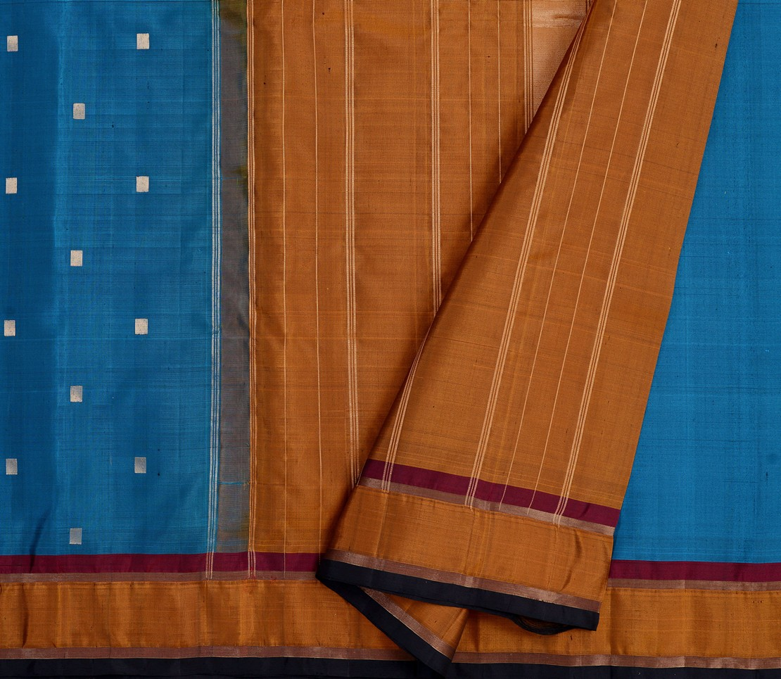 simple-kanjivaram-soft-silk saree-weavemaya-bangalore-India-Maya-peacock-blue-1202016-3