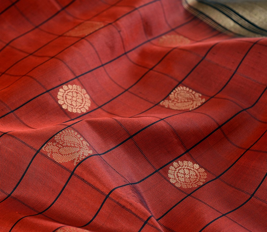 Kanjivaram Silk Saree in Arakku with Mayil-Chakram