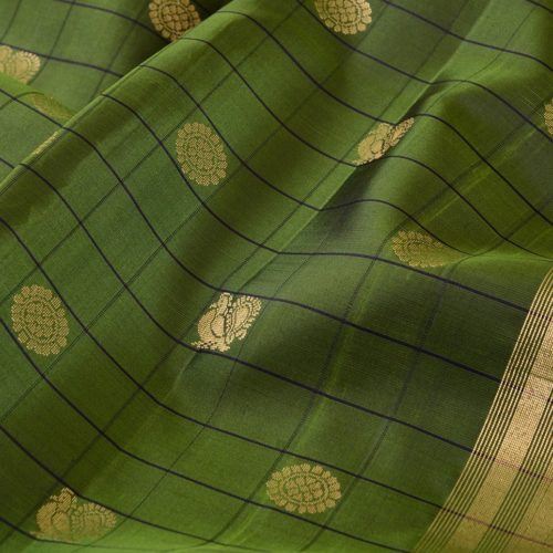 Kanjivaram Silk Saree in Dark Green with Mayil-Chakram