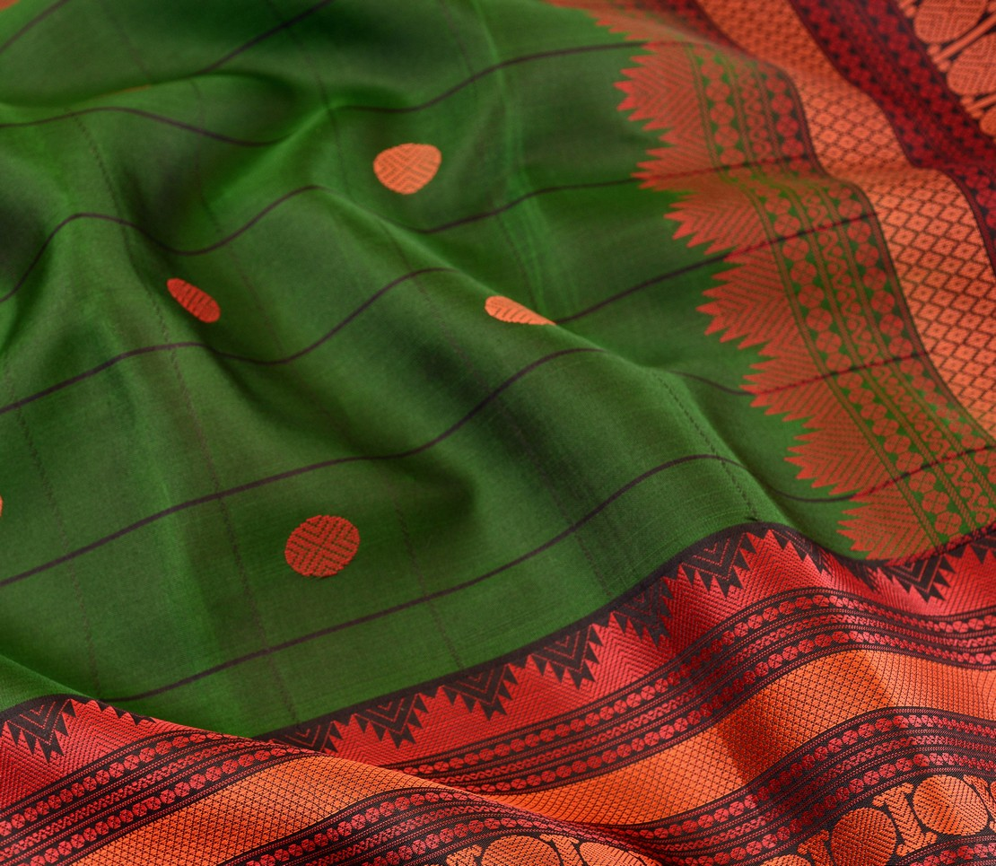 softsilk-threadwork-kanjivvaram-saree-weavemaya-bangalore-India-Maya-bottle-green-1202061-3