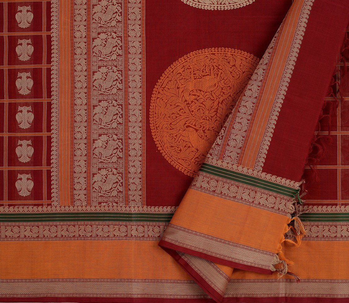 exclusive-kanchi-cotton-saree-weavemaya-bangalore-India-Maya-red-2872009-3