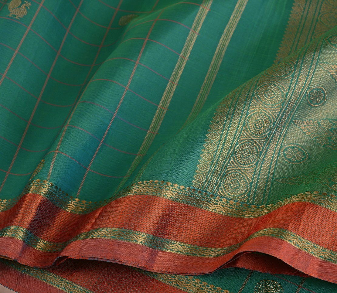 elegant-bridal-kanjivaram-silk-saree-weavemaya-bangalore-India-Maya-emerald-green-6202106-wave