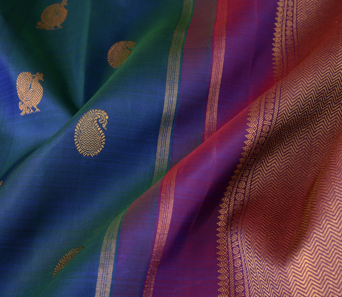 exquisite-bridal-kanjivarams-silk-saree-weavemaya-bangalore-India-Maya-peacock-blue-6202108-wave