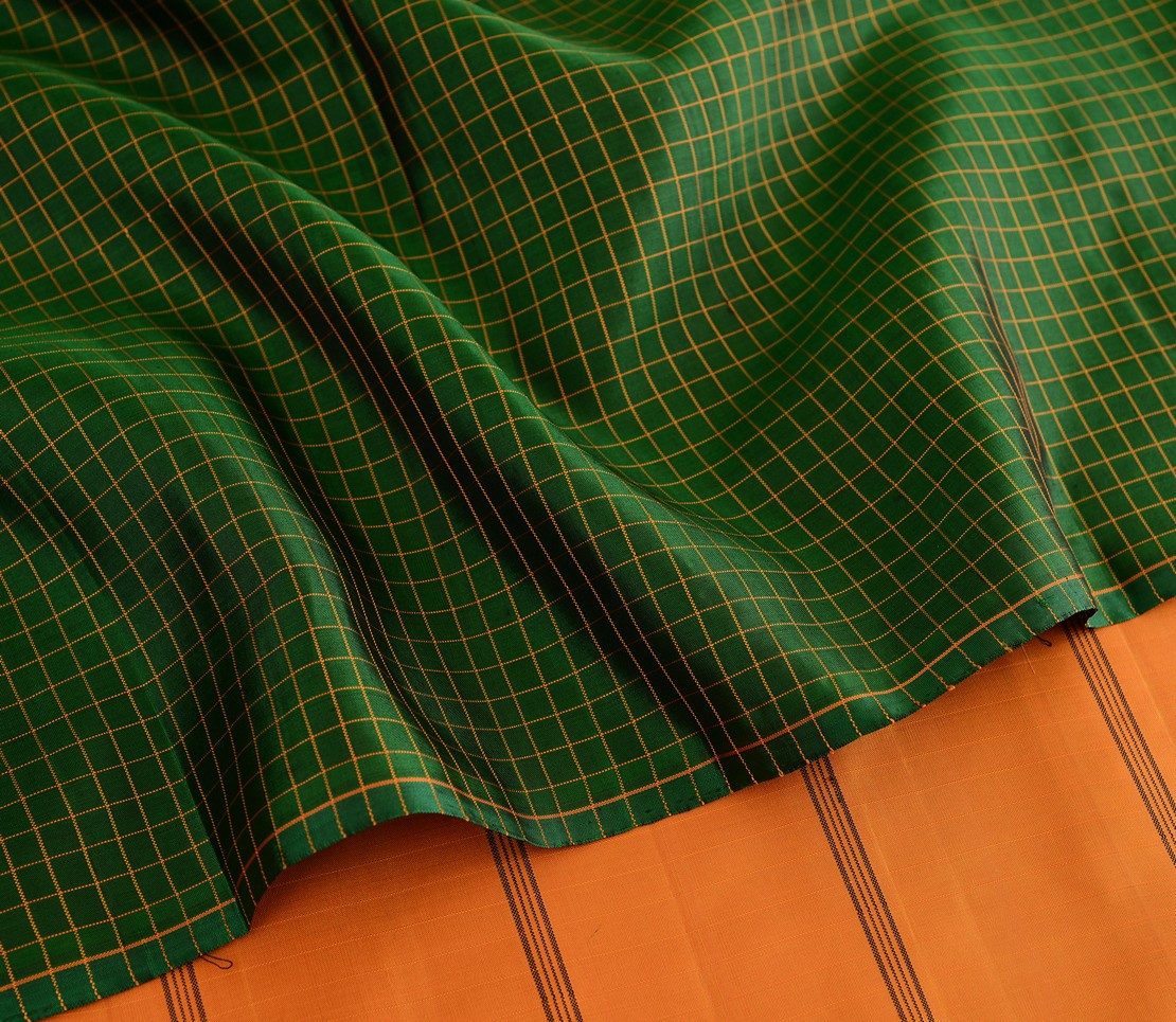 elegant-kanjivaram-silk-saree-weavemaya-Bangalore-India-Maya-sarala-bottle-green-2872005-wave