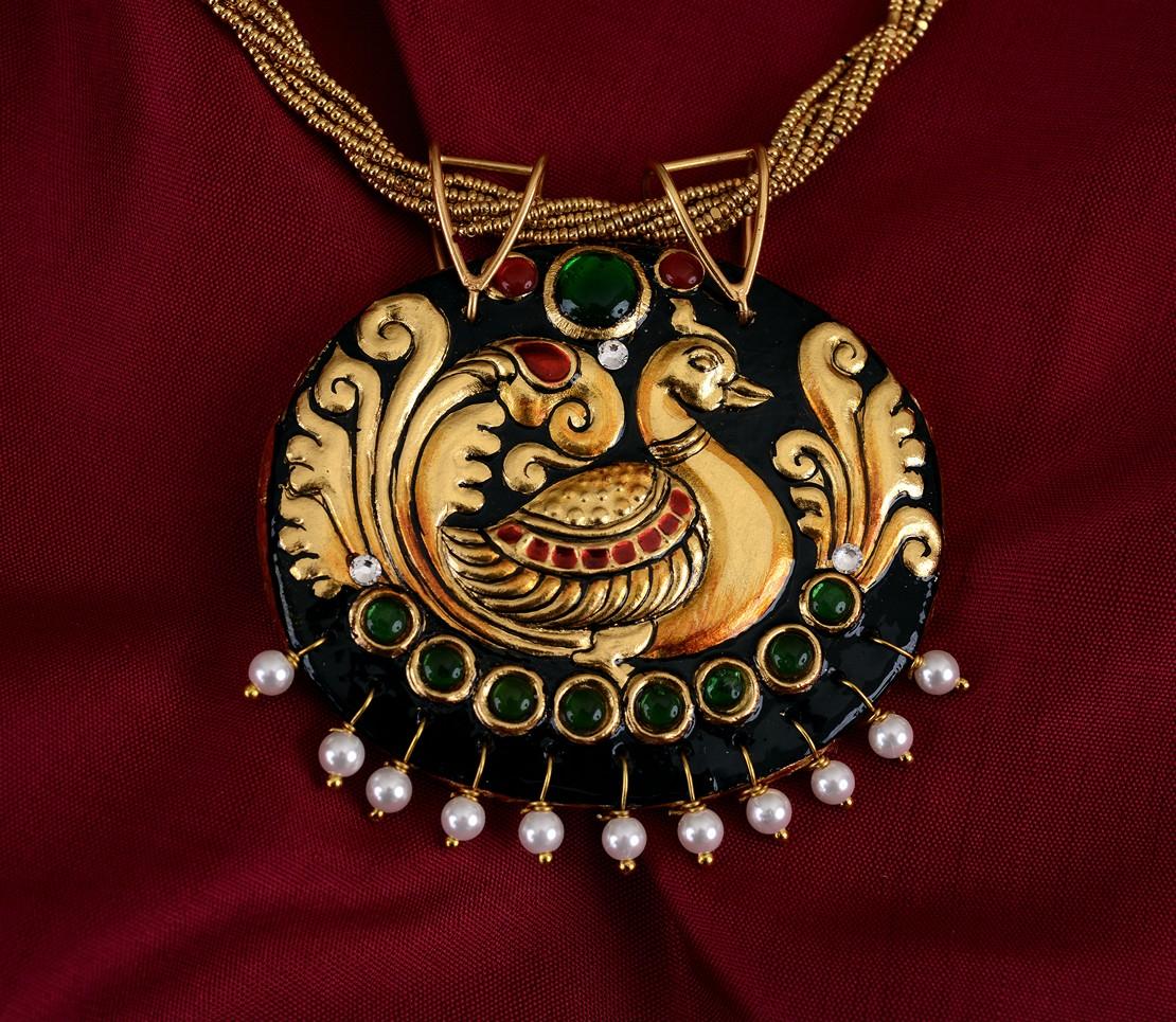 exquisite-tanjore-paintinglike-pendant-weavemaya-Bangalore-India-Maya-peacock-oval-pearl-drops