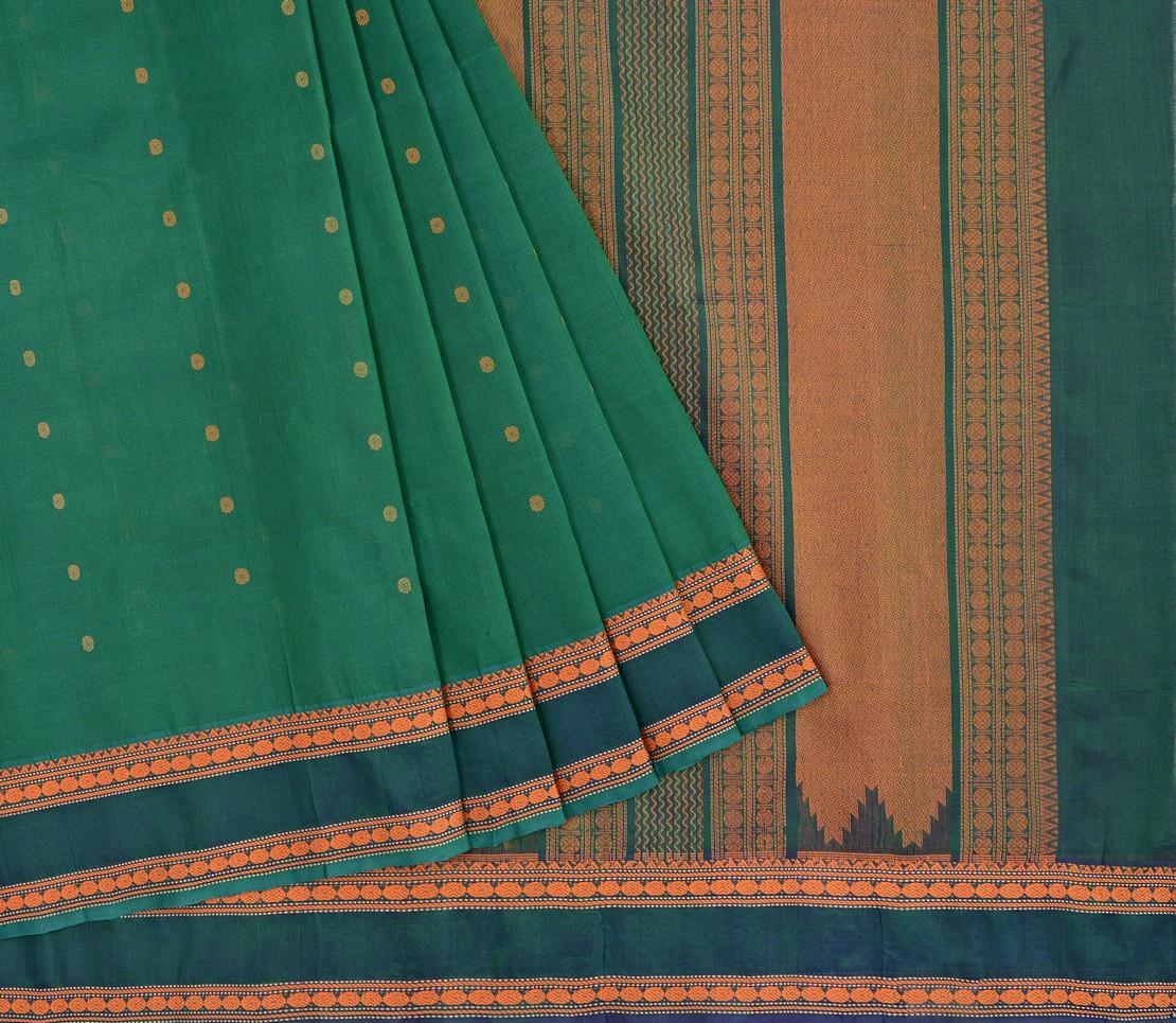 elegant-Kanchi-silkcotton-weavemaya-Bangalore-India-Maya-butta-bottle-green-1472109-3