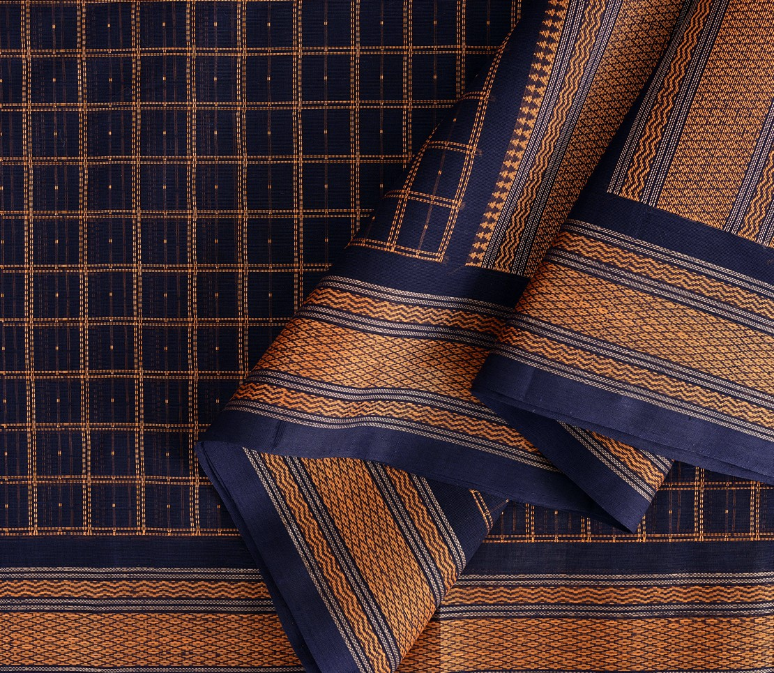 exquisite-kanchi-cotton-parutti-saree-weavemaya-Bangalore-India-Maya-mutthu-kattam-navy-blue-1492107-wave
