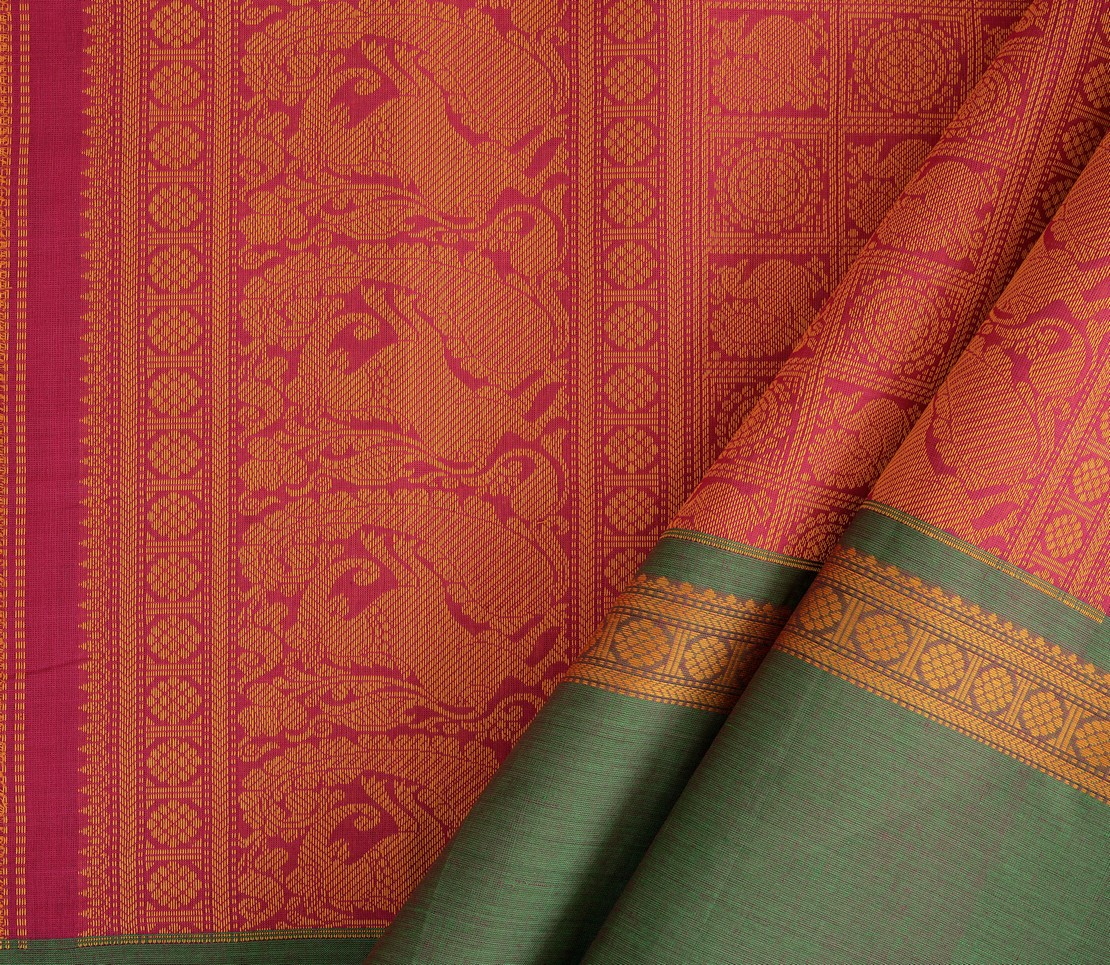 exquisite-kanchi-cotton-parutti-saree-weavemaya-Bangalore-India-Maya-mayil-chakram-pink-1492112-wave