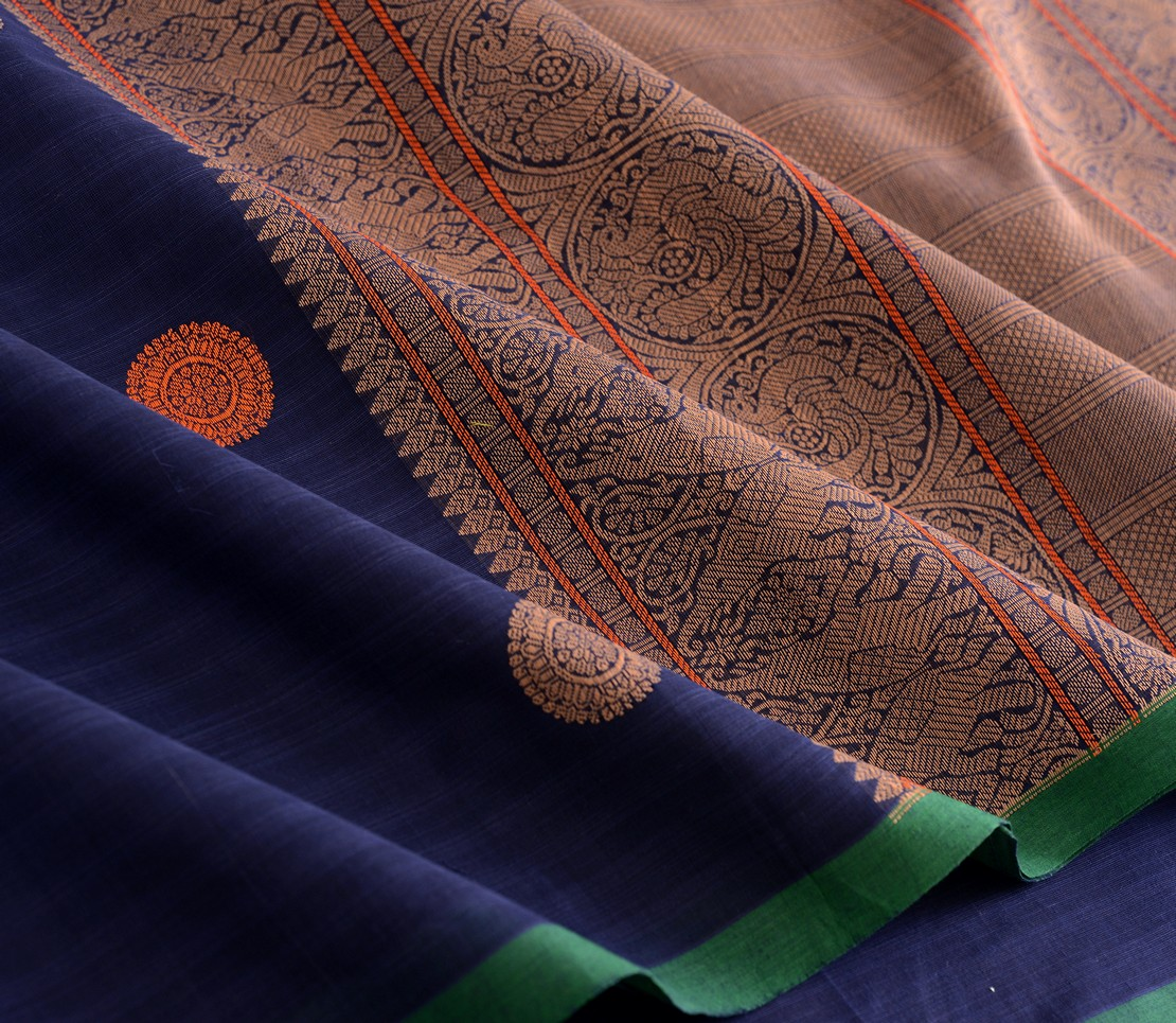 exquisite-kanchi-cotton-parutti-saree-weavemaya-Bangalore-India-Maya-navy-blue-1492143-wave