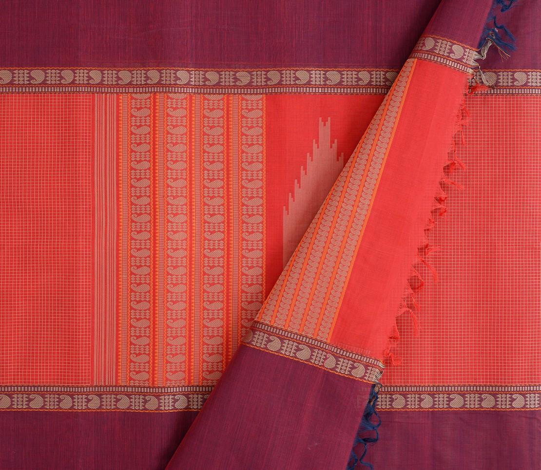 elegant-kanchi-cotton-saree-weavemaya-Bangalore-India-Maya-mubbhagam-deep-red-8302030-3