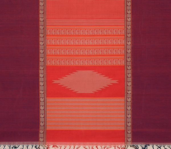 elegant-kanchi-cotton-saree-weavemaya-Bangalore-India-Maya-mubbhagam-deep-red-8302030-4