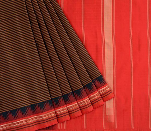 Traditional-korvai-border-Kanjivaram-silk-saree-weavemaya-Bangalore-India-Maya-black-10082103 3
