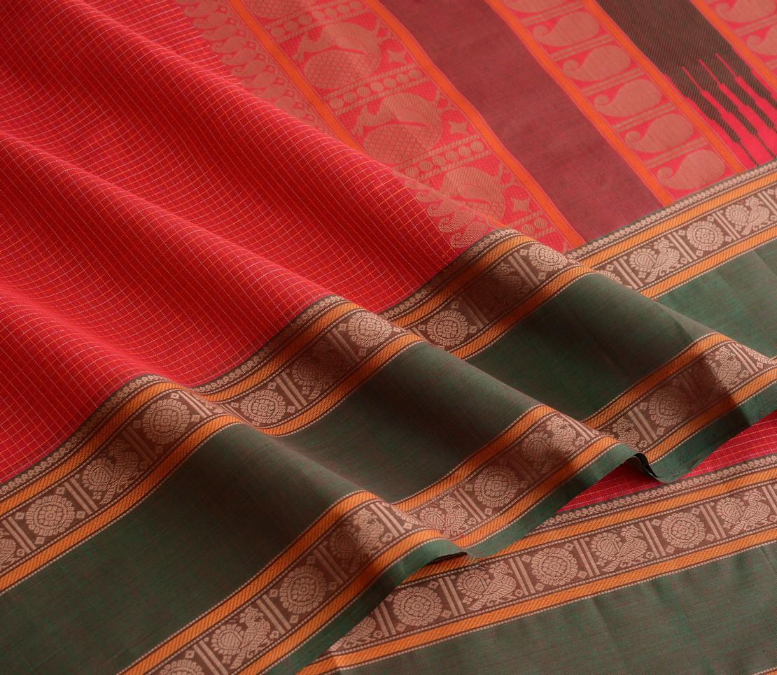 Elegant Kanchi cotton kattam weavemaya Bangalore India Maya red 4482163 5