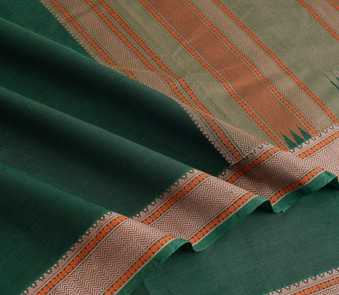 Elegant Kanchi cotton small border weavemaya Bangalore India Maya bottle green 4482159 4