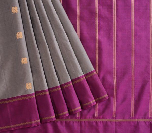 Elegant Kanjivaram silk saree annam butta weavemaya Bangalore India Maya grey 10172121 3