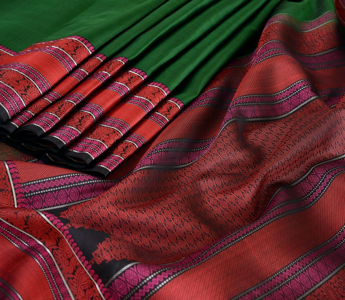 Elegant threadwork Kanjivaram silk saree weavemaya Bangalore India Maya bottle green 4502110 4