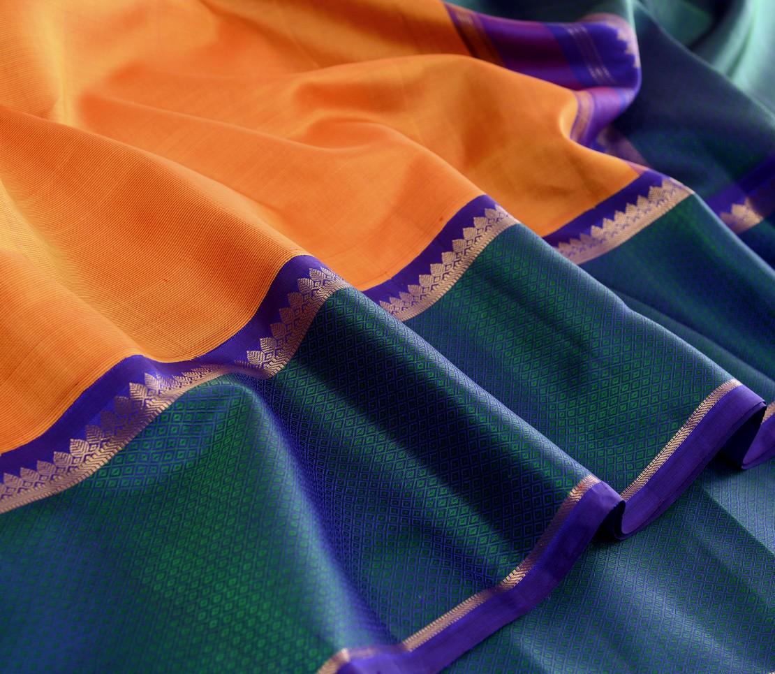Traditional korvai border Kanjivaram silk saree weavemaya Bangalore India Maya mango yellow 10172122 4