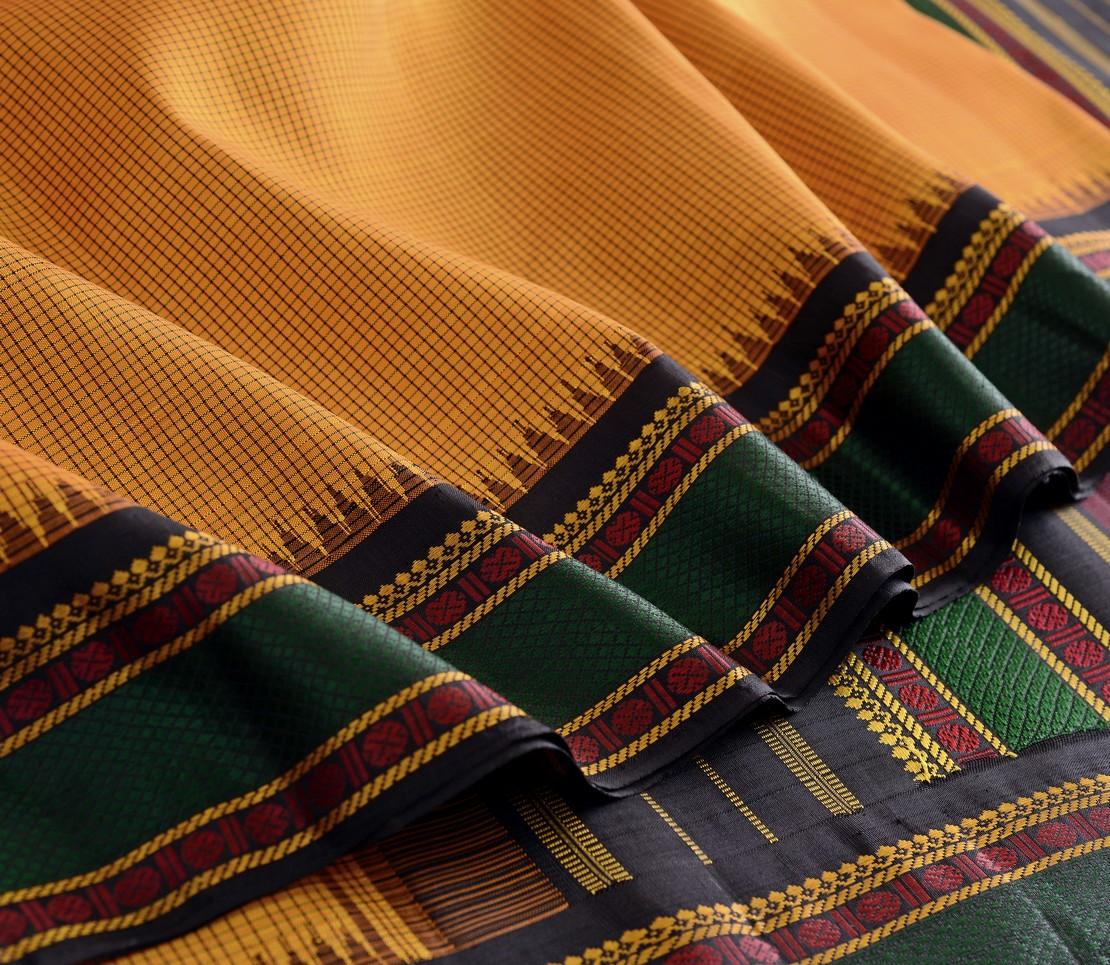 Traditional korvai border Kanjivaram silk saree weavemaya Bangalore India Maya mustard 10172116 4