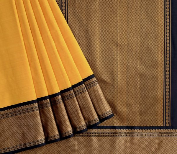 Traditional korvai border Kanjivaram silk saree weavemaya Bangalore India Maya mustard 10172123 3