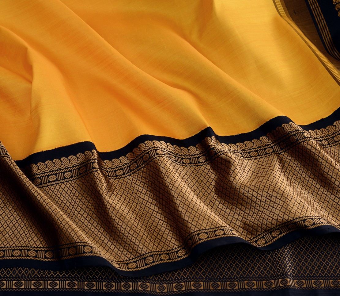 Traditional korvai border Kanjivaram silk saree weavemaya Bangalore India Maya mustard 10172123 4