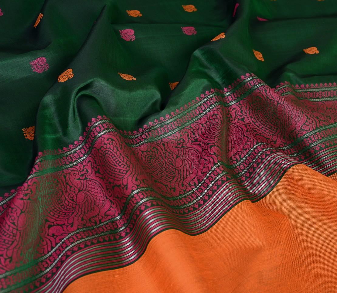 Traditional threadwork butta Kanjivaram silk saree weavemaya Bangalore India Maya bottle green 4502127 4