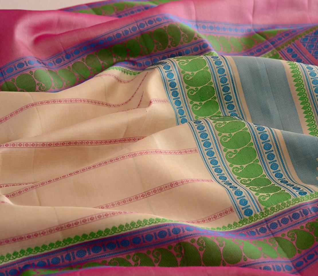 Traditional threadwork mubbhagam Kanjivaram silk saree weavemaya Bangalore India Maya offwhite 4502125 4