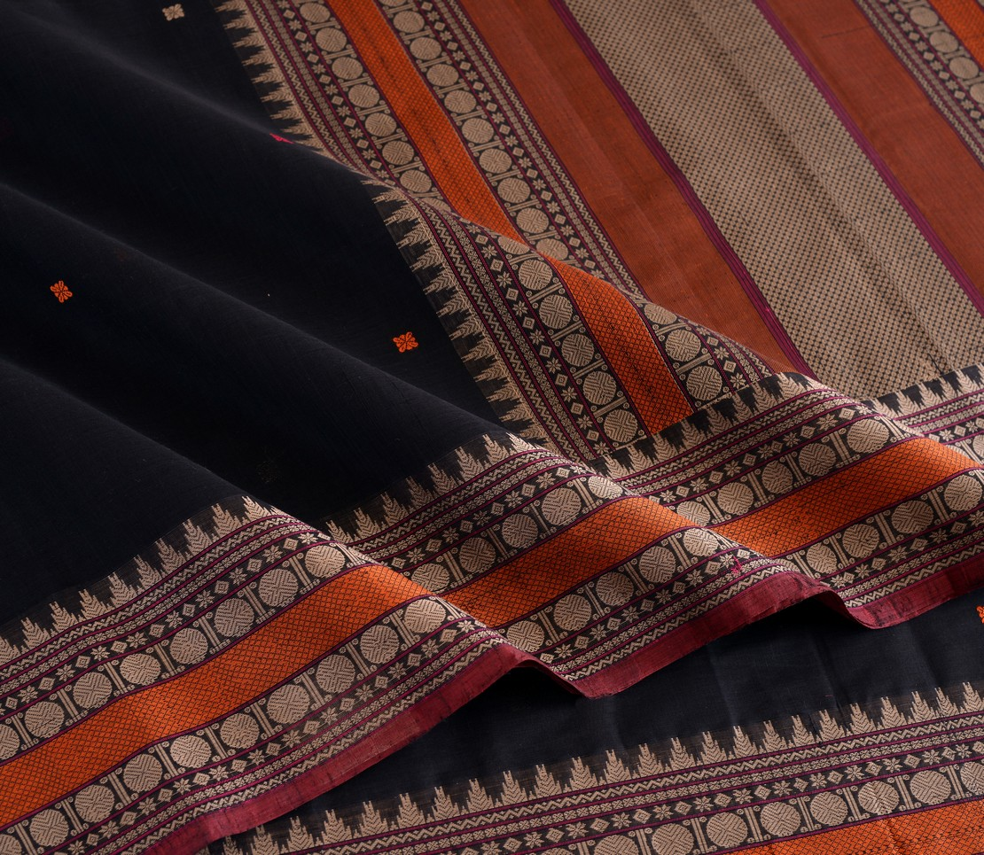 Elegant Kanchi cotton butta weavemaya Bangalore India Maya black 4482173 4