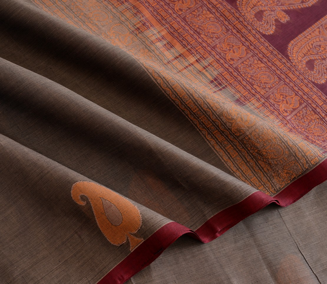 Elegant Kanchi cotton motif border weavemaya Bangalore India Maya grey 4482148 4