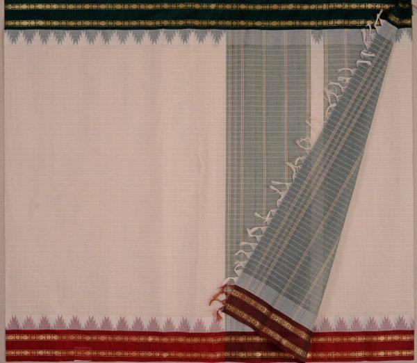 Elegant Kanchi cotton silkborder weavemaya Bangalore India Maya white 10162107 2
