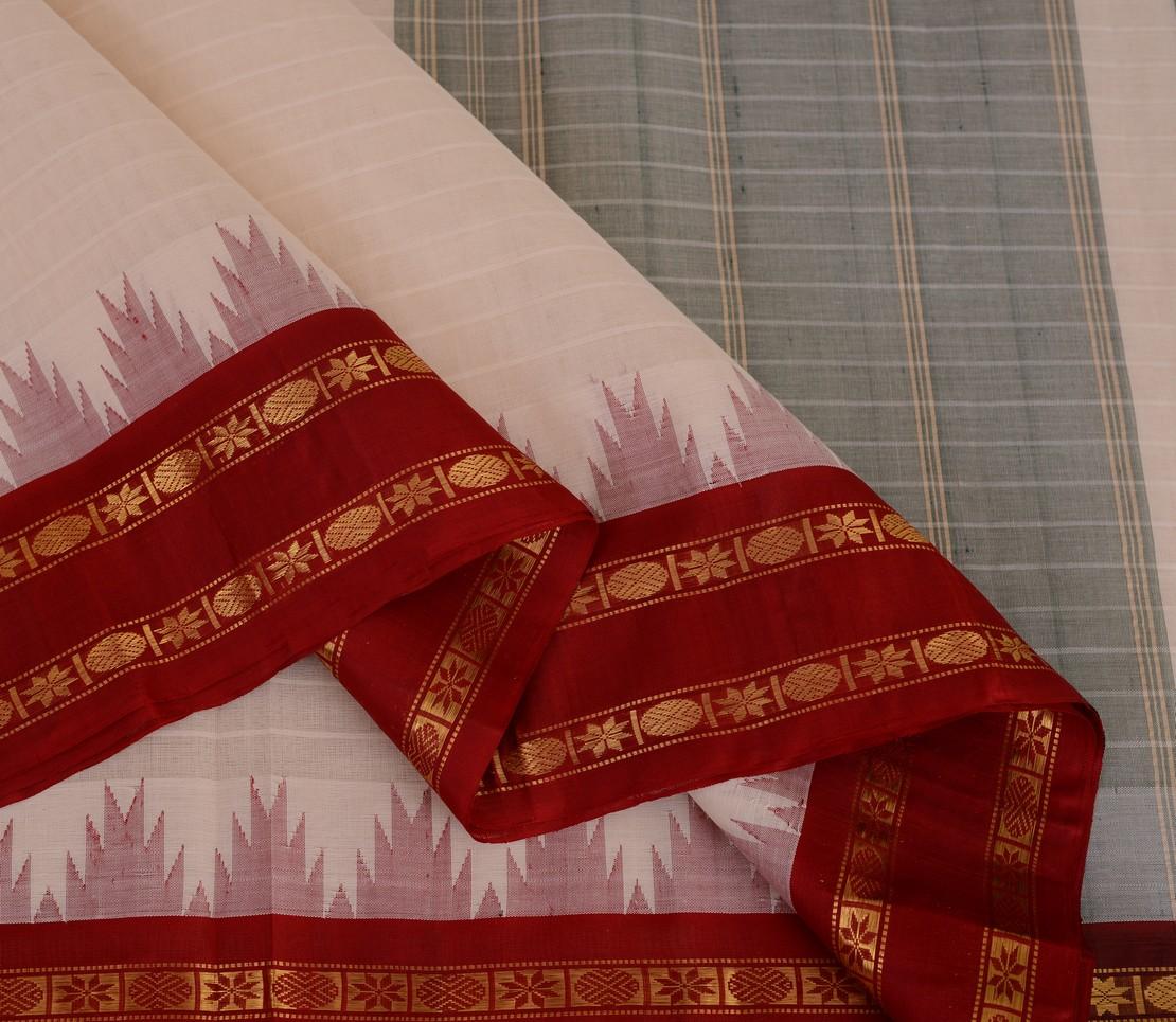 Elegant Kanchi cotton silkborder weavemaya Bangalore India Maya white 10162107 3