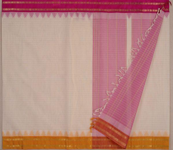 Elegant Kanchi cotton silkborder weavemaya Bangalore India Maya white 10162108 2