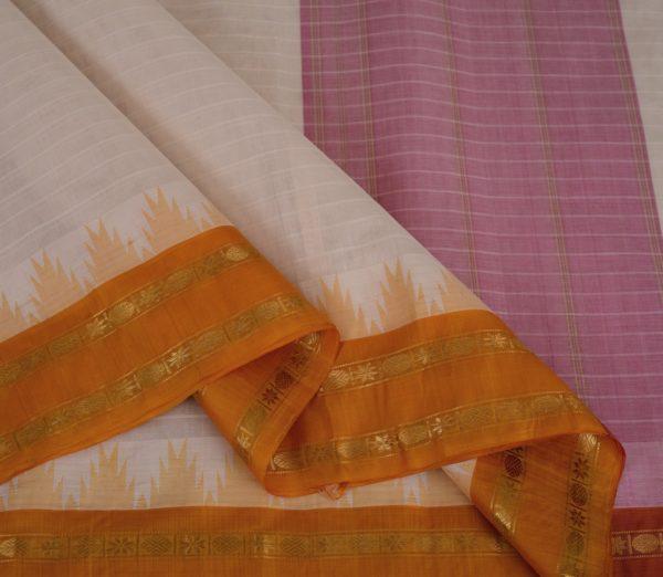 Elegant Kanchi cotton silkborder weavemaya Bangalore India Maya white 10162108 3