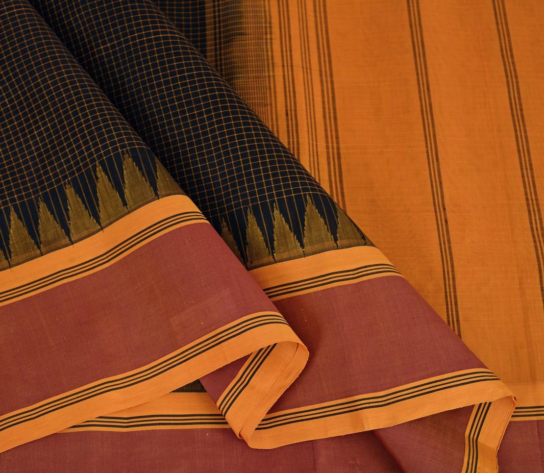 Elegant Kanchi silkcotton checks korvai border weavemaya Bangalore India Maya Black 10162103 3