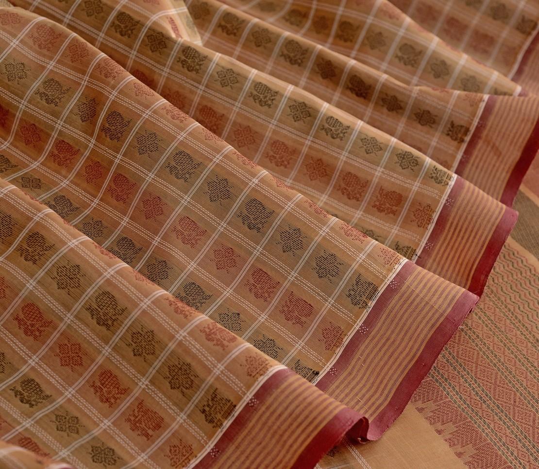 Elegant Kanchi silkcotton threadwork ayiram butta weavemaya Bangalore India Maya beige 4492104 4