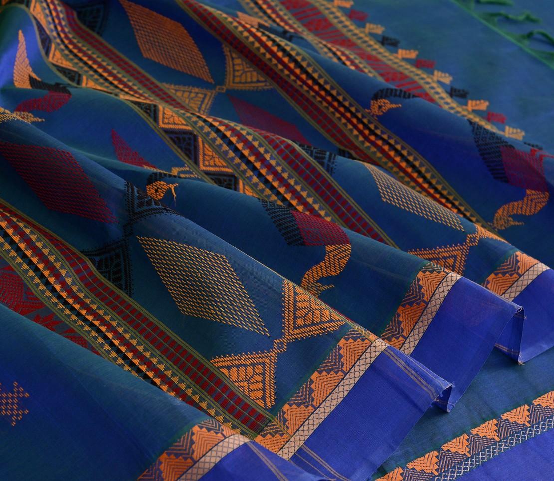 Elegant Kanchi silkcotton threadwork bomkai weavemaya Bangalore India Maya blue 4492111 4