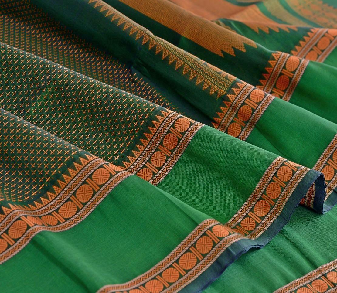 Elegant Kanchi silkcotton threadwork weavemaya Bangalore India Maya bottle green 4492118 4