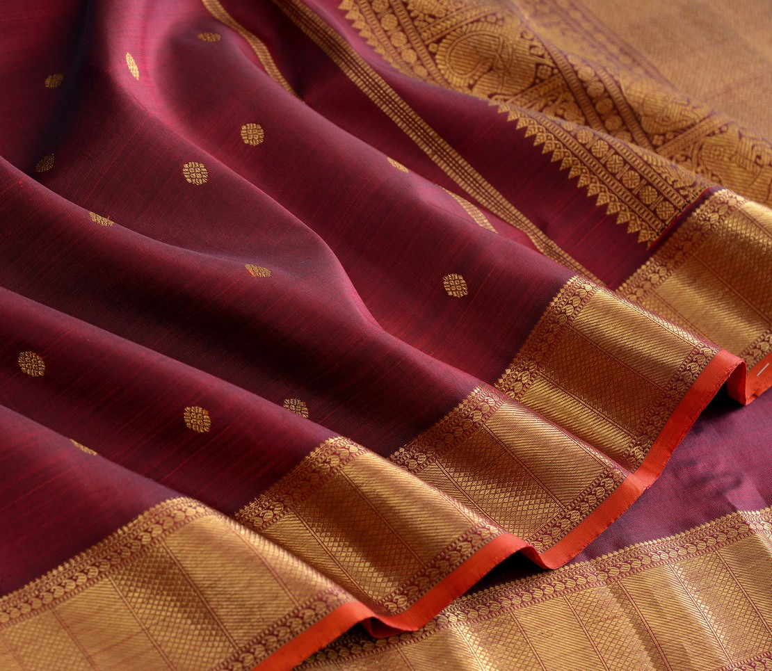 Elegant Kanjivaram kanya bridal butta rich pallu weavemaya Bangalore India Maya brown 1582102 4
