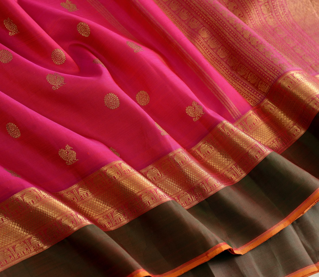 Elegant Kanjivaram kanya bridal butta rich pallu weavemaya Bangalore India Maya pink 10172117 4